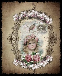 Girl in frame with birds - on papier anglais board on pinterest