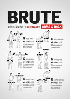 Best back and bi workout with 20 seconds of rest in between each set. Consider substituting any bicep exercise with a one arm high cable curl or reverse cable curls (cable reverse curls). This back and biceps workout is for women or men. Gym Workout Tips, Biceps Workout, At Home Workouts, Upper Body Dumbbell Workout, Free Weight Workout, Weight Workouts, Workout Fitness, Metabolic Workouts, Monthly Workouts