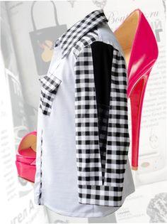 46$ Женская блузка в клетку для полных женщин с карманами и чёрной вставкой на рукаве Артикул 372, р50-64 Деловые блузки большие размеры  Офисные блузки большие размеры   Блузки дизайнерские большие размеры  Блузки с длинным рукавом большие размеры
