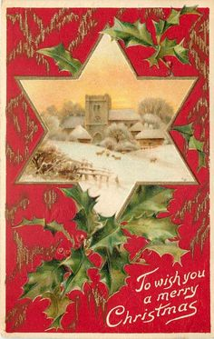 Vintage Christmas Landscape Card ~ Peach Sky