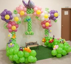 We are sure that this garden theme will definetly catch your guests Eyeballs, Call us on 9998067860 to get this… Ballon Decorations, Balloon Centerpieces, Birthday Party Decorations, Decoration Party, Love Balloon, Balloon Flowers, Butterfly Party, Butterfly Birthday, Balloon Columns
