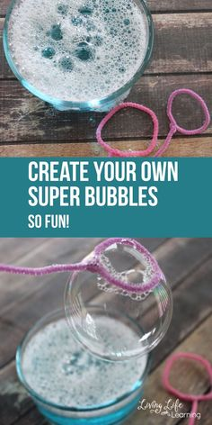 Have fun this summer and learn how to make super bubbles to keep your kids engaged and playing outdoors all summer long, they'll love it. Summer Fun For Kids, Summer Activities For Kids, Toddler Activities, Games For Kids, Camping Activities, Indoor Activities, Kids Fun, Family Activities, Cool Baby