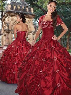 Vestido De Quinceanera Rojo de Tafetán de Vestido de Fiesta de Hasta suelo Strapless Con Rosarios at pickedlook.com