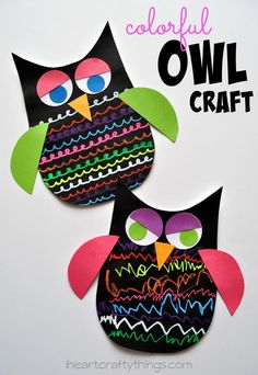 Kids will love getting creative making this Colorful Owl Craft for Kids using Fun Chalk. Great summer craft for kids or even year round.