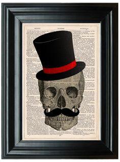 Skull Art Skull Artwork Book Page Art Horror by PeregrinVintage