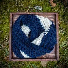 Striped crochet cowl, scarf, infinity scarf, snood, chunky knit, navy, blue, white. $30.00, via Etsy.