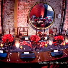 We love the dark blue and red for the wedding... mainly because its not done very often