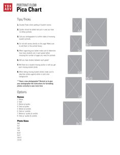 Portrait guide! Make sure to determine sizing of photos when deciding how large the student section should be for 2015