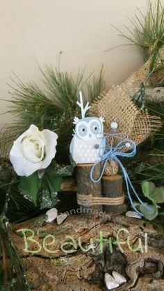 Μπομπονιέρα Βάπτισης. Μπομπονιέρα βάπτισης αγόρι, ξύλινο διακοσμητικό δεντράκι κουκουβάγια χειροποίητο. Christmas Ornaments, Holiday Decor, Christmas Jewelry, Christmas Decorations, Christmas Decor