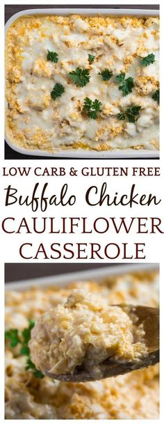 Amazing flavors collide in this low-carb, Creamy Buffalo Chicken Cauliflower Casserole! It's suitable for those on a keto diet, as well as gluten free. Makes a great weeknight dinner recipe! | #chicken #buffalochicken #casserole #casserolerecipe #lowcarb #keto #glutenfree #ketomeal #ketorecipe #lowcarbrecipe