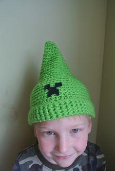 2014 Pixie Halloween Minecraft Creeper Crochet Hat Beanie - Green, Pattern, Elf #2014 #Halloween
