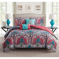 VCNY Casa Re'al Reversible Coral and Turquoise Paisley Print 5-Piece Comforter Set | Overstock.com Shopping - The Best Deals on Comforter Sets