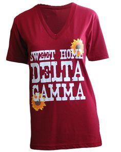 Delta Gamma Sunflowers V-Neck by Adam Block Design | Custom Greek Apparel & Sorority Clothes | www.adamblockdesign.com