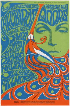 15 Women Artists Who Have Left Their Mark On Modern Design: Bonnie Maclean (American, born 1949). The Yardbirds, The Doors. 1967. Offset lithograph, 21 ¼ x 14″ (54 x 35.5 cm). The Museum of Modern Art, New York. Purchase. © Wolfgang's Vault