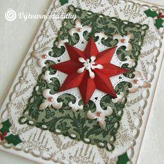 VyZa: Vánoční přání. Christmas card. Snowflakes. Spellbinders dies. Folded star.