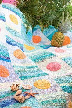 Caribbean Sunset Friday Freebie: Caribbean Sunset Island Batik Bed Quilt Pattern