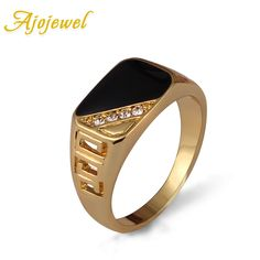 Ajojewel Size 8-11 Classic Gold Plated Rhinestone Men Ring Black Enamel Male Finger Rings Best Selling 2016