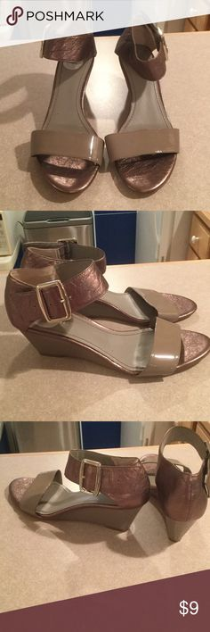 Shoes Nine West taupe sandals mix of leather and man made material. Size 9. Wedge approx 2 1/4 inches nine west Shoes Sandals