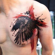 FirstClassNYC | Trashpolka raven from Mikhail Andersson (mikhailandersson on IG) / FirstClassTattoo #raven #trashpolka #cross #MikhailAndersson #firstclasstattoo | Tattoodo