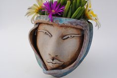ceramic face planter garden mask wall pocket by WickedClayGirl, $34.00