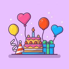 Birthday Icon, Happy Birthday Art, Birthday Cartoon, Happy Birthday Wishes Cards, Gift Box Birthday, Birthday Greeting Cards, Birthday Greetings, Birthday Congratulations, Present Drawing