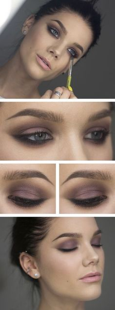 We love a lavender smokey eye. Purple colors look fabulous with blue eyes
