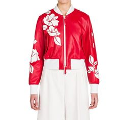 Fendi Leather Applique Bomber Jacket ($4,885) ❤ liked on Polyvore featuring outerwear, jackets, apparel & accessories, floral print bomber jacket, flight jacket, white leather jacket, leather jackets and floral bomber jacket
