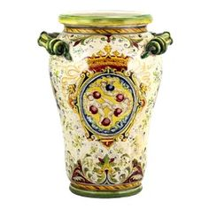 Astoria Grand Majolica Medici: Large Vase Umbrella Stand With Two Handles And Demedici Crest Pots, Renaissance Era, Hand Painted Ceramics, Ceramic Painting, Traditional Design, Urn, Old World, Umbrella Stands, Decor