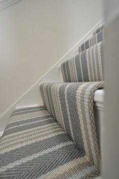 Lintzford 1 – Off The Loom – Home decoration ideas and garde ideas Stairway Carpet, Hallway Carpet, Hallway Flooring, Design Living Room, My Living Room, Striped Carpets, Striped Carpet Stairs, White Stairs, Hallway Inspiration