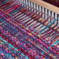 Simple weaving on rigid heddle loom using fabric, braid, ribbon, yarn. A bit if fun. #rainbowwools #ashfordloom #rigidheddleweaving #repurposed