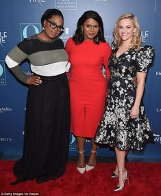 """Oprah Winfrey, Mindy Kaling and Reese Witherspoon attend a special screening of """"A Wrinkle in Time"""" hosted by O, The Oprah Magazine at the Walter Reade Theater in New York City on March O The Oprah Magazine, Black Overcoat, A Wrinkle In Time, Mindy Kaling, Reese Witherspoon, Oprah Winfrey, Black Lingerie, Back To Black, Classic Looks"""