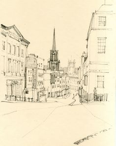 Pencil Sketch - From Lansdowne, Bath www.nickhirst.co.uk Building Illustration, Travel Illustration, Sketch Painting, Watercolor Sketch, Bath Uk, Sketching Techniques, Architectural Sketches, Space Architecture, Old Building