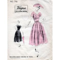 1950s Day Dress Pattern Vogue Couturier Design by BessieAndMaive