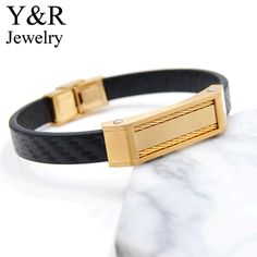 Custom mens italian leather bracelets stainless steel gold plated cable charms genuine leather bracelet
