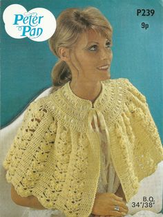 Peter Pan P239 Vintage Crochet Pattern Bed Jacket Cardigan Sweater PDF