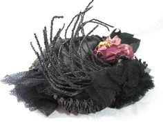 Spirited Victorian Straw Bonnet With Beads & Silk Flowers from Marzilli Vintage