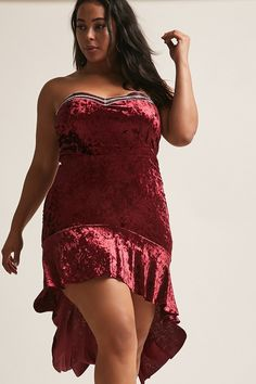 Plus Size High-Low Flounce Dress: Burgundy from Forever 21