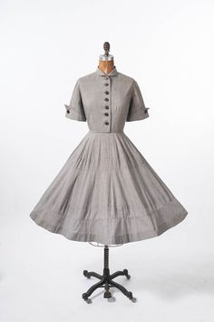 1950s Wide Skirt Shirtdress: Vintage 50s Cotton Dress, Fit and Flare, Wide Circle Skirt, Nipped Waist