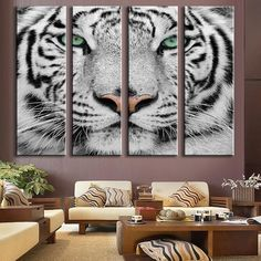 The wild side is elegant and impressive in this 4 canvas panel, white tiger wall art set. PRODUCT HIGHTLIGHTS - 5 piece canvas painting set, Unframed. - Vivid color HD ink on quality fiber canvas. - Eco-friendly, environmentally-conscious canvas material, paints, ink. - Waterproof. Fadeproof. - Size(s): 12x36inx4pcs - FREE SHIPPING SPECIFICATIONS Home Decor For: Wall, Living Room, Bedroom, Dining Room, Kitchen, Bathroom, Media Room, Nursery, Office, Apartment, Loft Home Accent Type: Artwork