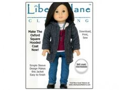 American Girl doll clothes pattern Oxford Square Coat | Liberty Jane Doll Clothes Patterns For American Girl Dolls
