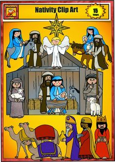 Faith Filled Freebies - Free Nativity Clip Art for Christmas  from Charlotte's Clips.  Set includes Joseph, Mary, Baby Jesus, Angel, Stable, manager, Shepherds, Kings, Camels. Journey to Bethlehem, Star of Bethlehem, Flight into Egypt.  Free for Personal and Single Classroom use.  Commercial License Available for low price.