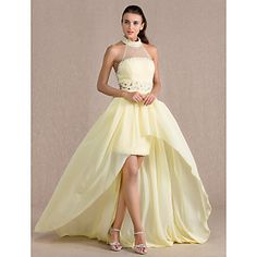 TS+Couture®+Formal+Evening+Dress+-+Open+Back+Plus+Size+/+Petite+Sheath+/+Column+High+Neck+Asymmetrical+Chiffon+/+Tulle+with+Beading+/+Crystal+–+USD+$+109.99