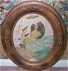 "Antique Shabby VICTORIAN COLLAGE IS IN AN ORNATE COPPER COLORED OVAL FRAME. THERE IS AN OVAL PRINT OF A LOVELY LADY, DRIED FLOWERS, A PINK LEATHER GLOVE, MISC. FABRICS IN PALE PINK, PALE GREEN AND BIEGE. ALSO A MUSIC SHEET IS PEEKING THROUGH BEHIND THE GLOVE. THE FRAME SIZE IS 12"" WIDE AND 14"" LONG. OLD PIECE, Edwardian, Art Nouveau"