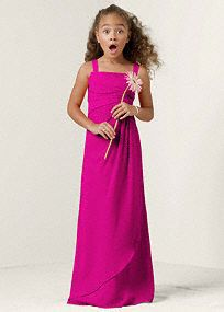 Sleeveless Crinkle Chiffon Junior Bridesmaid Dress with Twist Front, Style JB4935 #davidsbridal #pinkbridesmaiddress #juniorbridesmaid #weddings