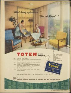 The Red chair is Fler, the grey is Grant Featherston, the rest is basically crap, Vynex advert. Issue: 13 Feb 1957 - The Australian Women's Weekly.