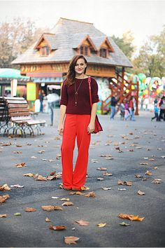 Discover this look wearing Crimson Vintage Yves Saint Laurent Sweaters, Red Wide Legged River Island Pants - Sweet child o'mine by Chaba styled for Chic, Amusement Park in the Fall Sweet Child O' Mine, Red Sweaters, Yves Saint Laurent, Wide Leg, Fashion Outfits, Legs, Chic, My Style, Children
