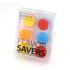 KOVOT Beer and Wine Flavor Savers  8 Silicone Bottle Caps 4 Beer Caps 4 Wine Screws  Assorted Colors *** This is an Amazon Affiliate link. Read more at the image link.