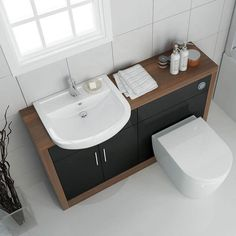 Small bathroom idea toilet and sink combination unit sizes start from wid. - Small bathroom idea toilet and sink combination unit sizes start from wide perfect for bathr - Toilet Vanity Unit, Toilet And Sink Unit, Bathroom Sink Units, Sink Vanity Unit, Toilet Sink, Bathroom Layout, Cloakroom Vanity Unit, Bathroom Design Small, Bathroom Interior Design