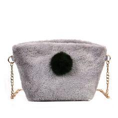 Gray Fur Ball Chain Shoulder Messenger Bag Fashion Wild Handbags (33 BRL) ❤  liked ac4d0f30b02e2