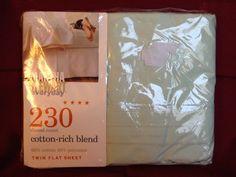 NEW MARTHA STEWART EVERYDAY 230 Thread Ct  Pastel Green Twin Flat Sheet NIP USA #MarthaStewart #twinsize #twin #twinflatsheet #greensheets